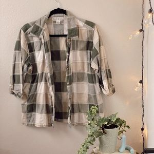 Vintage Green and Neutral Patchwork Buttondown Top